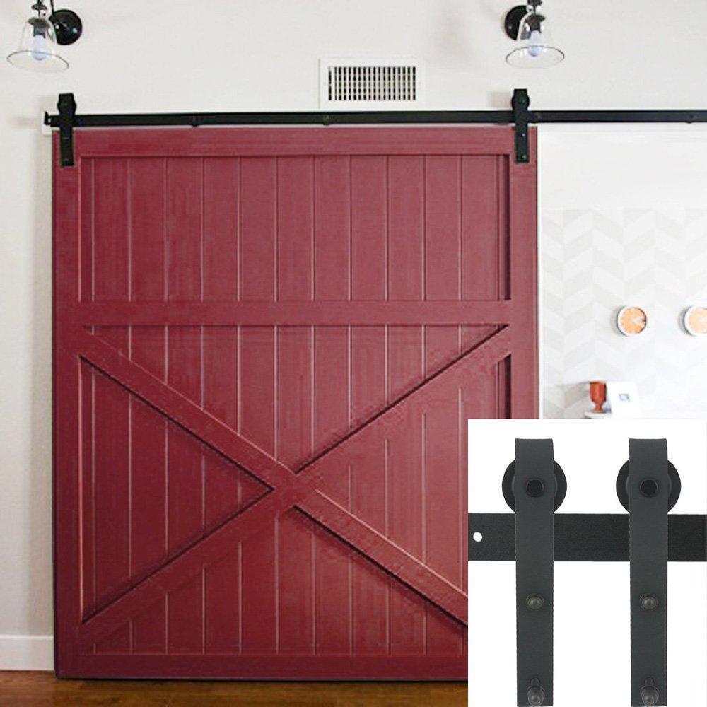Hahaemall Basic pesados soporte Polea rodillo de acero vía única puerta corrediza de madera granero Hardware de cierre suave Rolling KIT: Amazon.es: Bricolaje y herramientas