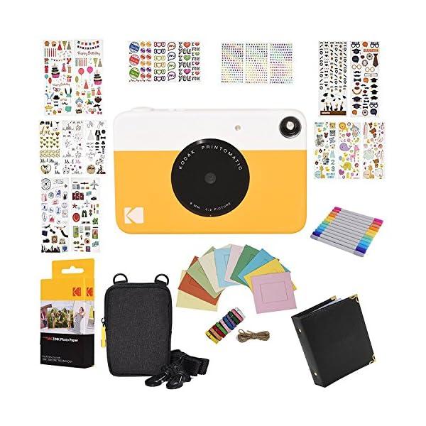 Kodak Printomatic Instant Camera Gift Bundle + Zink Paper (20 Sheets) + 9 Unique...
