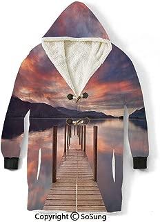 Landscape Blanket Sweatshirt,A Flooded Jetty in Derwent Water Lake District England Sunset Morning Photo Wearable Sherpa Hoodie,Warm,Soft,Cozy,XXXL,for Adults Men Women Teens Friends,Coral Purplegrey