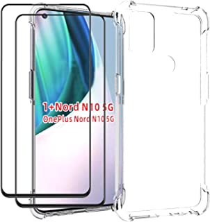 EasyLifeGo for OnePlus Nord N10 5G Case with Tempered Glass (2 Pieces) Slim Shock Absorption TPU Soft Edge Bumper with Rei...