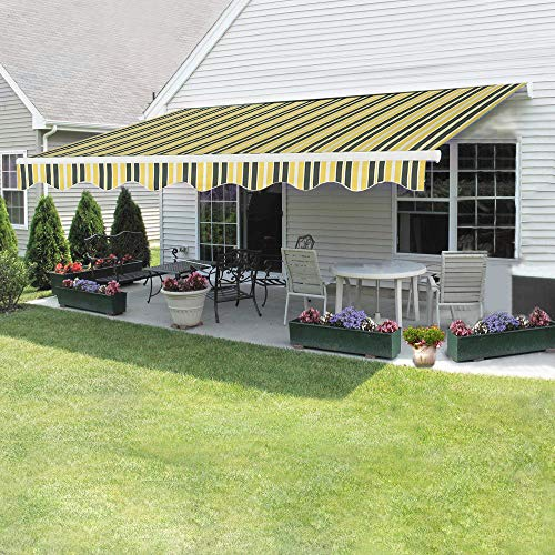 Dakea Markise Balkonmarkise Sonnenschutz mit Kurbel Anti-UV wasserfest und Wasserdicht 300 x 250cm Gelber Streifen