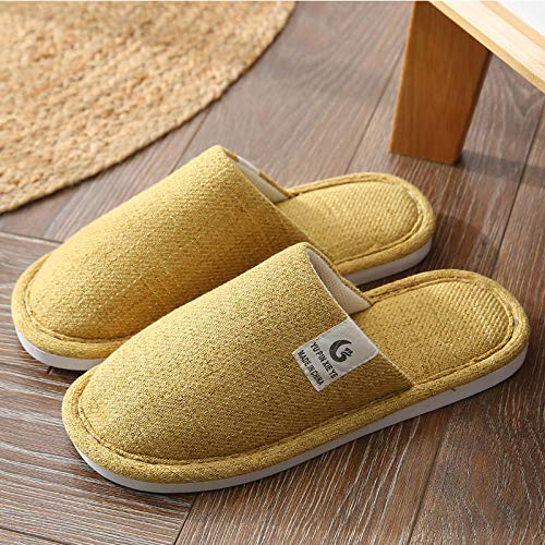 Zapatillas Casa Hombre Mujer Invierno Zapatillas De Interior Zapatos De Mujer Zapatillas De Dormitorio Antideslizantes Hogar Unisex Warm-Yellow_7