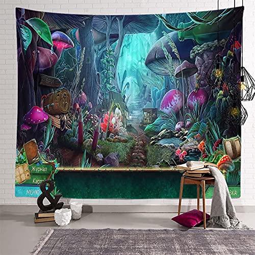 KHKJ Tapiz de Mandala de Hongos, cabecero de Pared, Colcha de Arte, Tapiz de Dormitorio para Sala de Estar, Dormitorio, decoración del hogar A22, 200x150cm