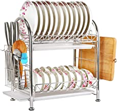 Tableware Storage, Drain Rack / 2 Tier Drainers Stainless Steel for Kitchen Dish Drying Racks Plate Rack Kitchen Compact Frame Rustproof (Size : F)