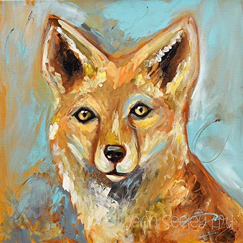 Fox, fox painting, blue and gold fox, Fox art print, fox decoration, for art