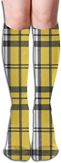 Buffalo Plaid Moose Lumberjack Womens Knee High Socks Winter Warm Boot Socks Tube Stockings