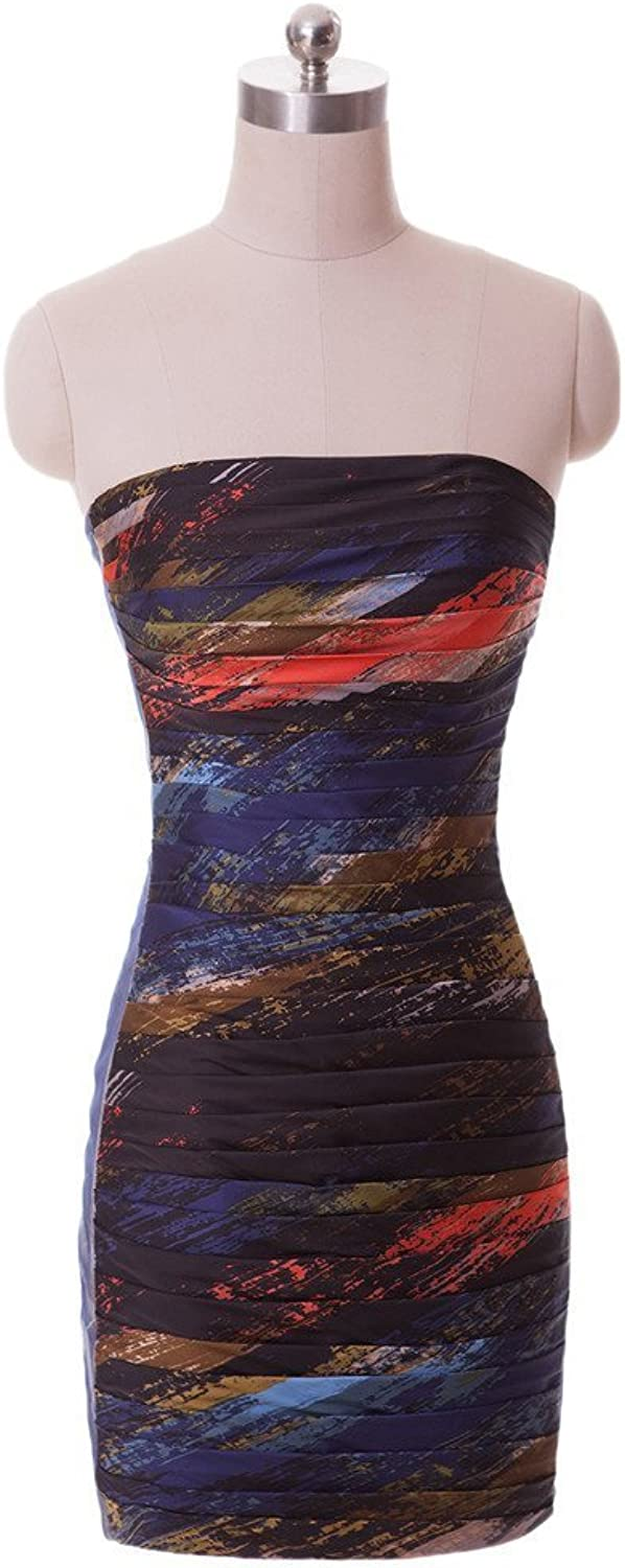 Angel Bride colorful Prom Evening Cocktail Dress Cheap Mini Dress Strapless