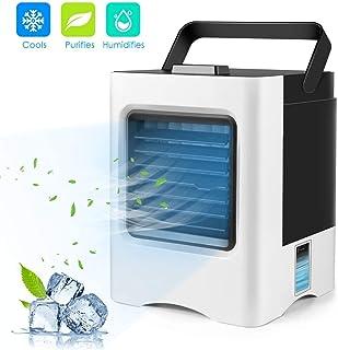 Wonepic Personal del refrigerador de Aire 3 en 1 USB Pequeño Personal del acondicionador de Aire del Ventilador Escritorio Mini purificador refrigeración con la manija Portable para la Oficina