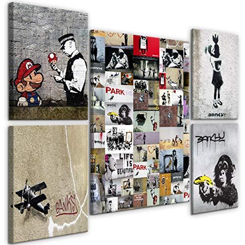 decomonkey Bilder Banksy 110x80 cm 5 Teilig Leinwandbilder Bild auf Leinwand Vlies Wandbild Kunstdruck Wanddeko Wand Wohnzimmer Wanddekoration Deko Graffiti Street Art