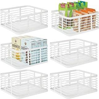 mDesign panier en métal polyvalent (lot de 6) – panier de rangement pour cuisine, garde-manger, salle de bain, etc. – corb...