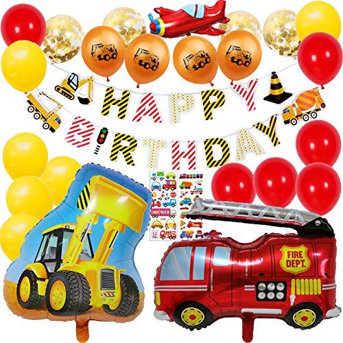 Bagger Kindergeburtstag Deko 2 Jahr Geburtstag Junge Geburtstagsdeko Bagger Feuerwehrauto Luftballons 1-10 Jahr Kinder Geburtstag Party