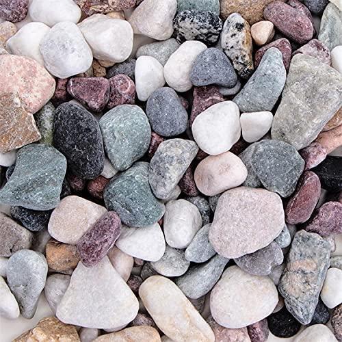 Nobleza-(2.4kg pecera, Acuario, jarrón, Piedras de decoración de jardín, Arena de Jade Blanco, Piedra Negra, Piedra Colorida-6 Botellas