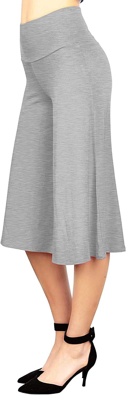 LTOTXKMR Women's High Elastic Waistband Wide Leg Court Dress High Joe Capri Pants High Waist Pants