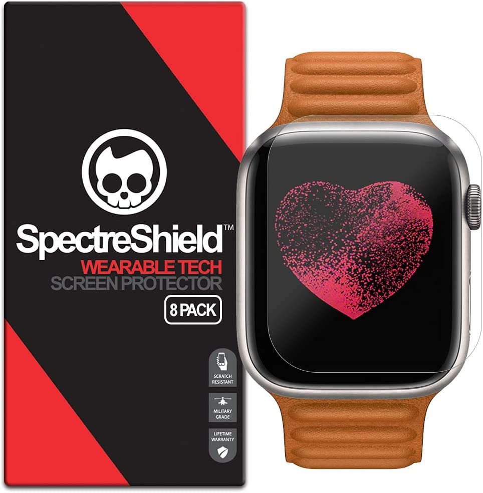 (8-Pack) Spectre Shield Screen Protector for Apple Watch Series 7 (45mm) Case Friendly Apple Watch Screen Protector 45mm Accessory Full Coverage Clear Film