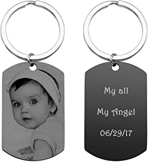 PiercingJ Personalized Custom Photo Picture Text Engraved Stainless Steel Dog Tags Keychain Message Customized Pendant Valentine's Mother's Father's Day Birthday Gift