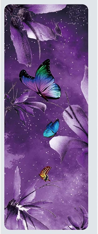 ヨガマット天然ゴムプロフェッショナルヨガマットフィットネスマットプリントスリップワイドワイド折りたたみヨガマット アナックボーイ (Color : A, Size : 4mm)