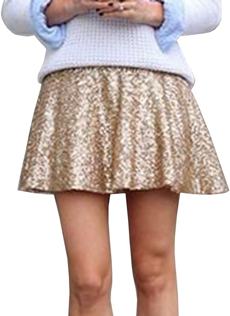 WDPL Women's Mini Sequins Bridal Evening Champagne Skirt