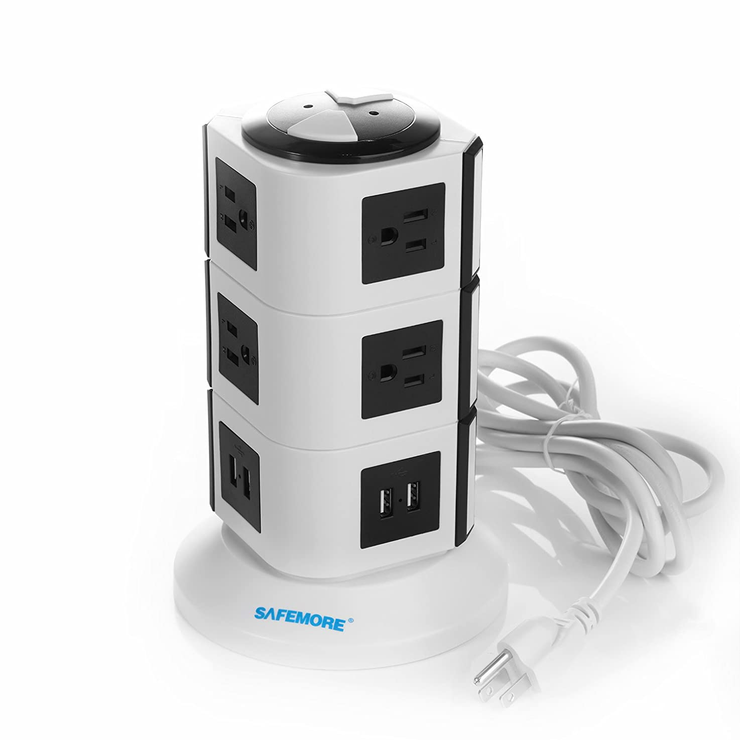 SAFEMORE USB Power Strip 10-Outlet Charging Station and 4 Smart USB Ports with 6.5-Feet Power Cord (White+Black)