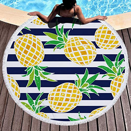 N / A Linda Toalla de Playa Redonda Grande Impresa con Borla Gruesa y Suave Estera de Yoga Hippie Picnic 150x150cm