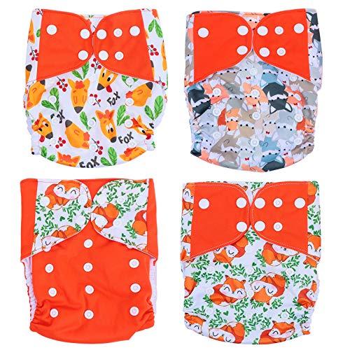 KESYOO Calça de Fralda de Bebê de Poliéster Lavável Reutilizável, Fraldas Infantis de Tecido Ajustável (Laranja), Laranja, 35.5×35cm
