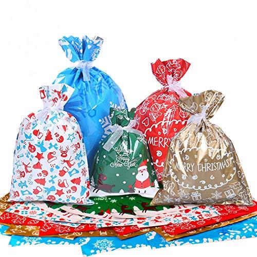 Icnow Sacchetti Regalo Natalizi, 40pz Buste Regalo Natalizie con Nastri, Sacchetti da Imballaggio di 4 Dimensioni, Sacchetti Caramelle Regali Confezioni per Natale, Festa, Addobbi Natalizi