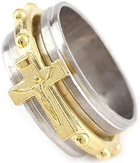 WGY Gold Silber Edelstahl Ring Mehrere Größen Religiöse Kruzifix Katholische Runde Ringe Drehbare Legierung