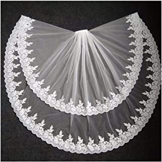 Elegant Bridal Veils Lace Edge Wedding Veil Two Layer Tulle Bride Accessories With Comb White Ivory 0530 yynha (Color : Iv...