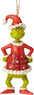 Enesco Dr. Seuss The Grinch by Jim Shore Dressed as Santa Hanging Ornament, 5.04