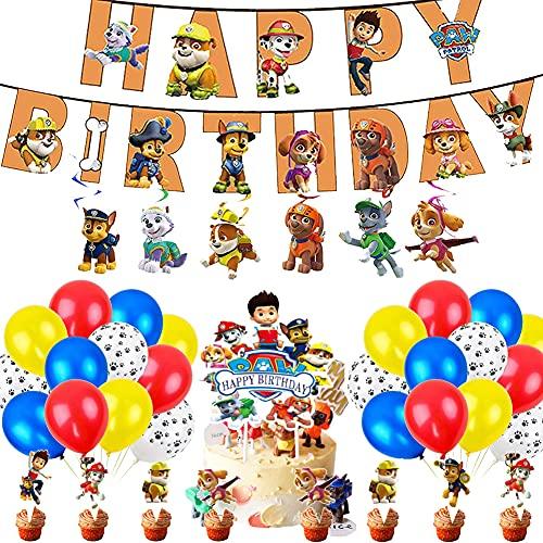 Globos Patrulla Canina, Patrulla de Canina, Cake Topper para Paw Dog Patrol Happy Birthday Party Cupcake Topper de Tarta Fiesta de Cumpleaños DIY Decoración Suministros