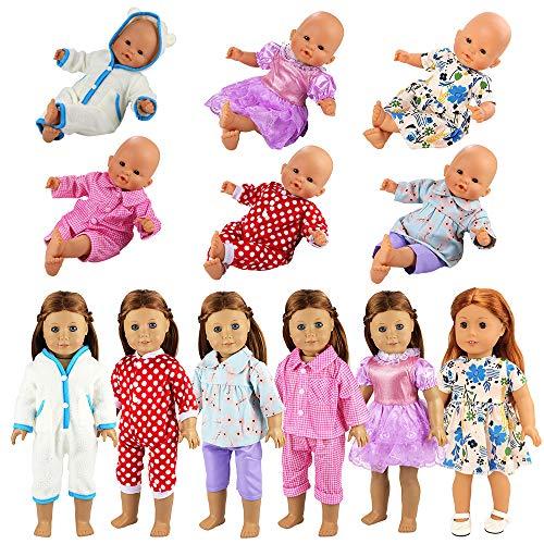 Miunana 6 Sets Kleidung Kleid Outfis Puppenkleidung für 36-46 cm American Girl Dolls Puppe