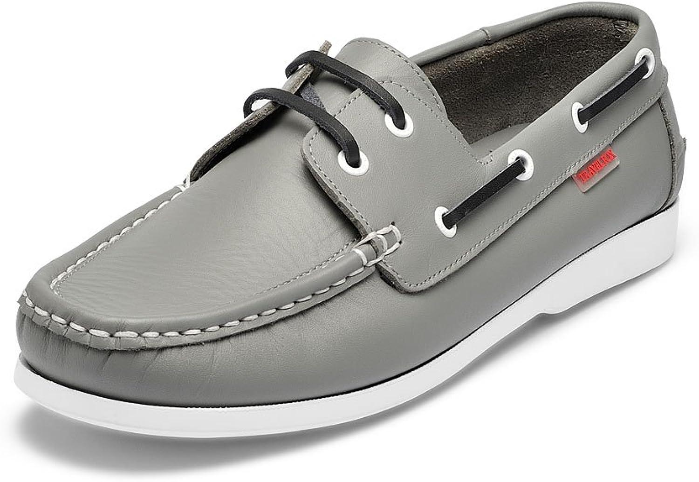 TRAVEL FOX Men's Daytona Nappa Leather Moccasin Toe Braided Lace Boat shoes