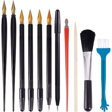 PandaHall 22pcs Outils de Peinture à gratter, Stylos à colorier Dual Scratch Bâtons de Bambou Petites brosses Propres pour grattoir pour Scratch Paper Art Paint DIY, Lot de 6