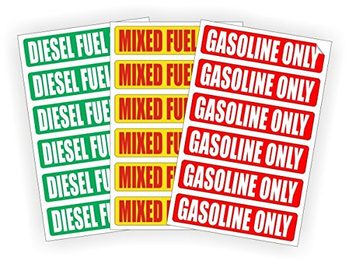6-pack DIESEL FUEL ONLY | MIXED FUEL ONLY | GASOLINE ONLY Automotive Fuel Decals | Gas Can Stickers | Truck Dirt Bike Labels | Vinyl Markers (3) 6-packs