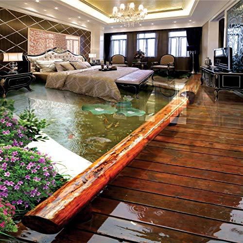 Papel pintado de foto personalizado Parque Puente de madera Murales de suelo Sala de estar Dormitorio Baño PVC Etiqueta de suelo impermeable 3 D-150 * 105cm