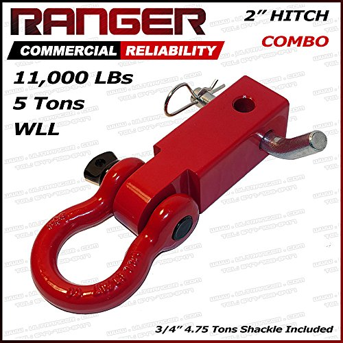 Ranger 2' Hitch Receiver with 3/4' Shackle D-Ring Combo Adapter 11,000 LBs 5 Tons by Ultranger