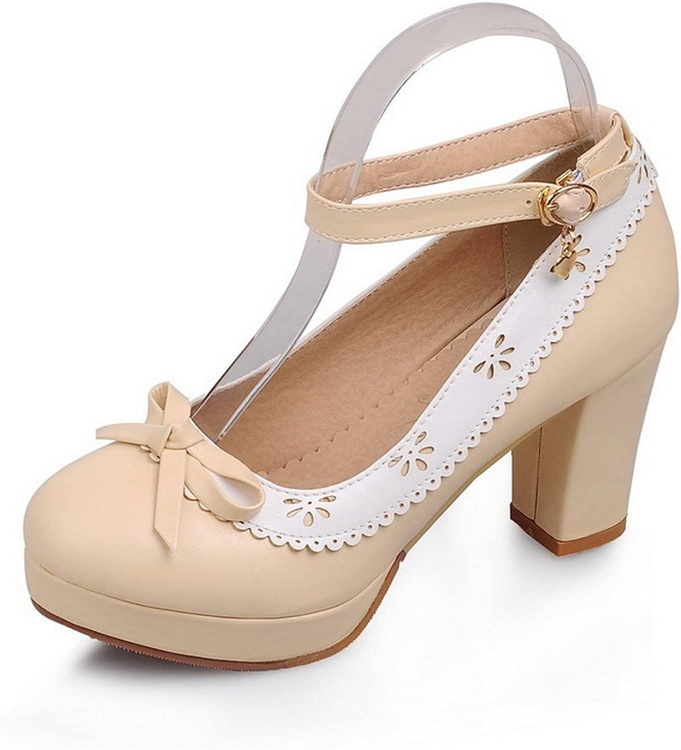 1TO9 Ladies Buckle Low-Cut Uppers Round-Toe Dress Beige Rubber Pumps-shoes - 7.5 B(M) US