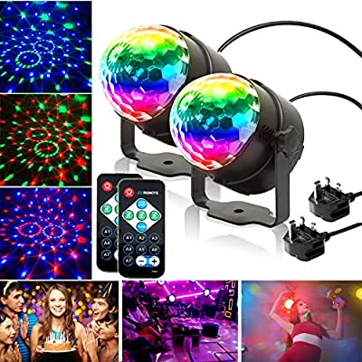 KOOT Disco Ball Lights,Sound Activated And Remote Control Disco Stage Strobe Ball Lights For Kids Birthday Party Pub Wedding Club Show (2 Pack)
