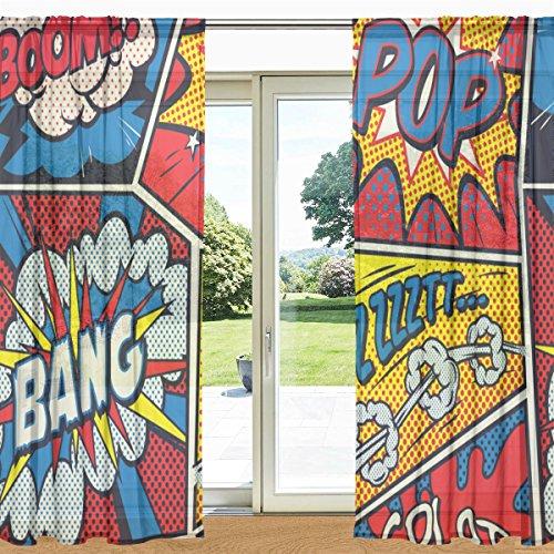 mydaily Retro Pop Art Comic bedruckt Sheer Fenster und Tür Vorhang 2Felder 139,7x 213,4cm Rod Pocket Panels für Wohnzimmer Schlafzimmer Decor, Polyester, multi, 55