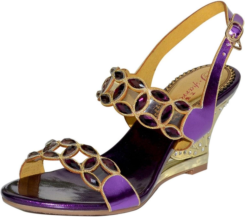 Doris Fashion Women's Open Toe Glitter Rhinestone Evening Wedding Dress Casual Pump Wedge Sandals shoes