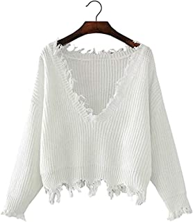 Women's Solid V Neck Ripped Hem Long Sleeve Frayed Sweater Knitted Pullover Crop Top