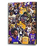 NBA Lakers Star Holding The Championship Trophy Pictures Painting on Canvas Basketball Fan Memorabilia Gifts Kobe Bryant Wall Art Posters Printed Framed Artwork Boy Bedroom Decoration [18''W x 24''H]