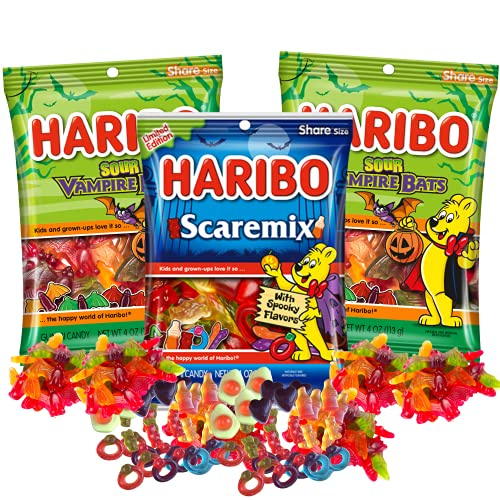 Special Edition Gummy Bears Scaremix and Sour Vampire Bats Candy, Halloween Gummies with Assorted...