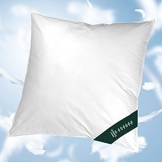 VOYAL LINNEN - Almohada de nube de Viena [80 x 80 cm] – Premium cojín de plumas, volumen medio, transpirable y certificado, apto para alérgicos, fabricado en Alemania