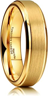 King Will Glory Womens Mens 6mm Matte Brushed Tungsten Carbide Ring 14K Yellow Gold Wedding Band Comfort Fit