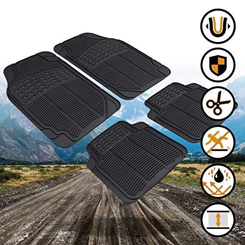 Walser 28036 Universal Auto Gummimatten Set 4-teilig zuschneidbare Fußmatten für PKW schwarz