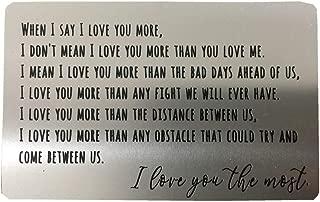 Engraved Wallet Insert Anniversary Gifts for Men, Metal Wallet Card Insert, Mini Love Note, Anniversary Card from Wife, Anniversary Cards for Husband, Boyfriend, Deployment Gift