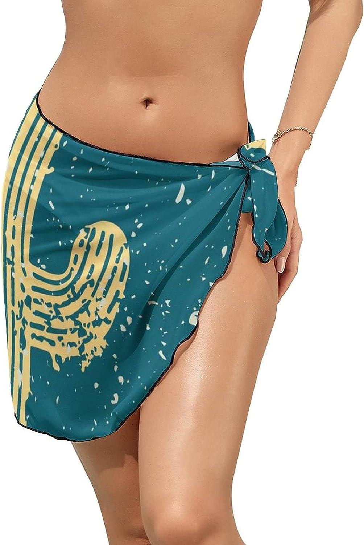 Women Beach Wrap Skirts Vintage Cactus High Snow Personalized Bikini Swimwear Beach Cover Up