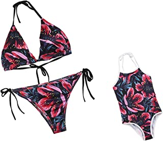 Family Matching Halter Neck Swimsuit,Floral Print Mommy&Me Spaghetti Straps One Piece Bathing Suit Beachwear