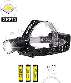 BESTSUN Super Bright Headlamp, CREE XHP70 10000 Lumen Zoomable Brightest LED Headlamp 3 Modes Waterproof Head Light USB Rechargeable Headlight for Camping Hiking with 3 Rechargeable Batteries