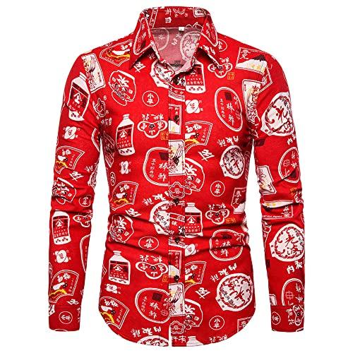 Camisa Hombre Manga Larga Vintage Estampado Shirt Hombre Ajustado Cuello Kent Camisa Hombre Moda Casual Estilo Étnico Shirt Hombre Primavera Otoño Básica Camisa Hombre